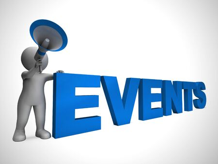 Events concept icon shows summits or meetings. An event display or presentation - 3d illustration