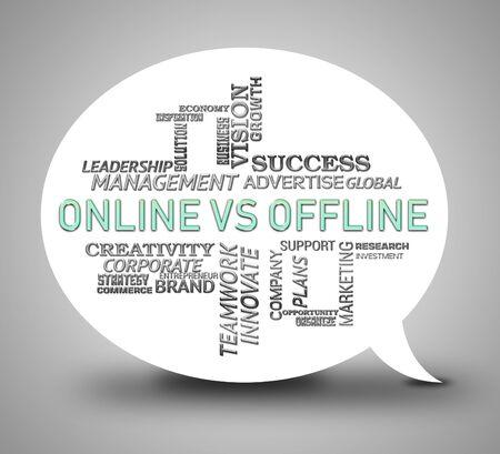 Online Vs Offline Words Depicting Internet Surfing Versus Print Media Promotion. Social Media And Website Advertising Or Printed - 3d Illustration
