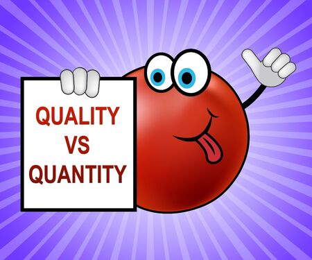 Quality Vs Quantity Note Depicting Balance Between Product Or Service Superiority Or Production. Value Versus Volume - 3d Illustration Banco de Imagens