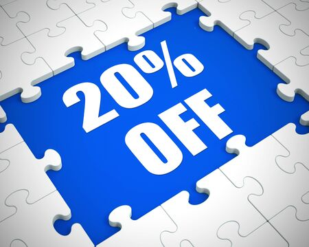 Twenty percent off discount reduction showing 20% less price. Special offer discounted product - 3d illustration