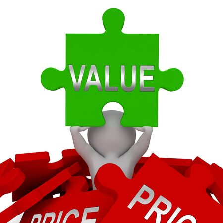 Price Vs Value Jigsaw Comparing Cost Outlay Against Financial Worth. Product Pricing Strategy Or Investment Valuation - 3d Illustration