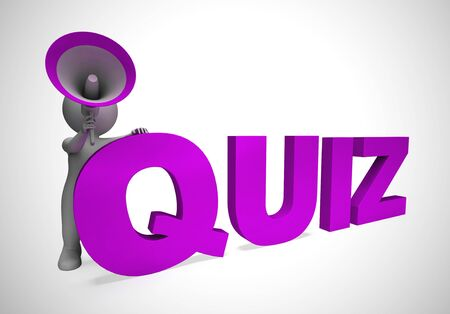 Quiz concept icon means examination or test question. Question and answer game or questionnaire - 3d illustration Banco de Imagens