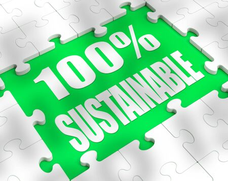100% sustainable means completely recyclable for reuse. Environmentally friendly conservation of trash - 3d illustration