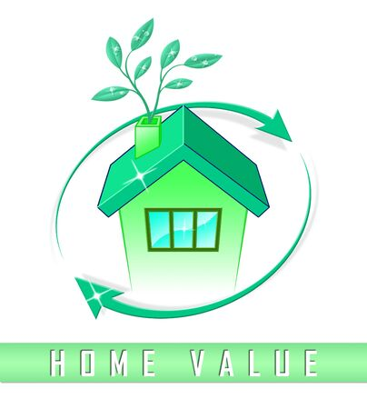 Home Value Report Icon Demonstrates Pricing Property For Mortgages Or Purchase. House Valuation Survey And Guide - 3d Illustration