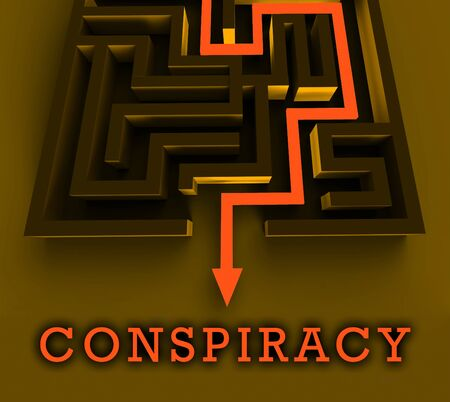 Secret Conspiracy Maze Representing Complicity In Treason Or Political Collusion 3d Illustration. Criminal Intrigue In The Elections