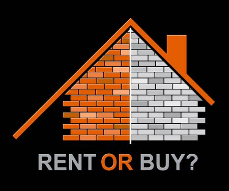 Buy Versus Rent House Compares Leasing Or Property Purchase. Renting Or Buying For Living And Investment - 3d Illustration Banco de Imagens