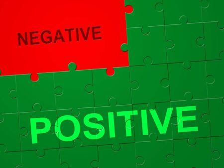 Positive Versus Negative Jigsaw Depicting Reflective State Of Mind. Motivation And Optimism Vs Pessimism - 3d Illustration