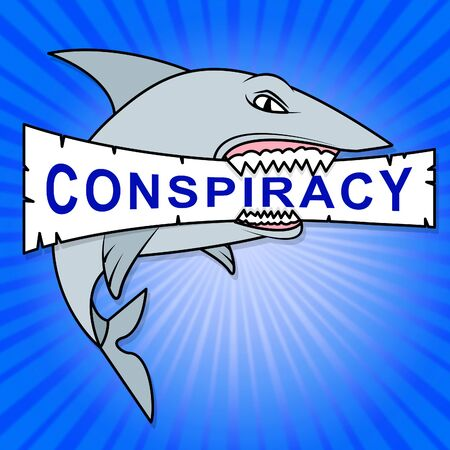 Conspiracy Theory Shark Representing American Collusion With Russians 3d Illustration. Secret Meetings To Commit Treason Against The Usa