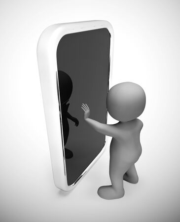 Using a smartphone or mobile device app for information or data. Touch screen appliances and multimedia - 3d illustration