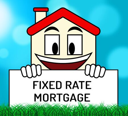 Fixed Rate Mortgage Icon Depicts Home Or Property Loan With Payment Fix. Percentage Interest On Apartment Or House - 3d Illustration Stok Fotoğraf