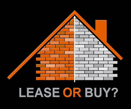 Lease Versus Buy Icon Showing Pros And Cons Of Leasing. Decide Between Home Ownership Or House Rent - 3d Illustration Banco de Imagens