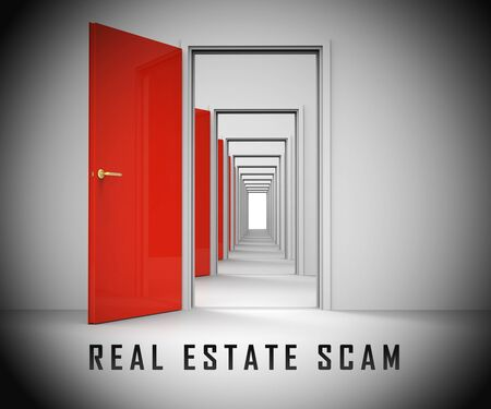 Real Estate Scam Doorways Depicting Property Deceit And Deception. Scams And Crime In The Realty Industry - 3d Illustration