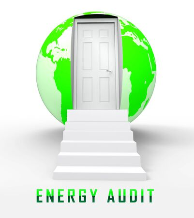 Home Energy Audit Door Represents Inspection To Save Power And Money. Building Electric Consumption And Effective Insulation - 3d Illustration