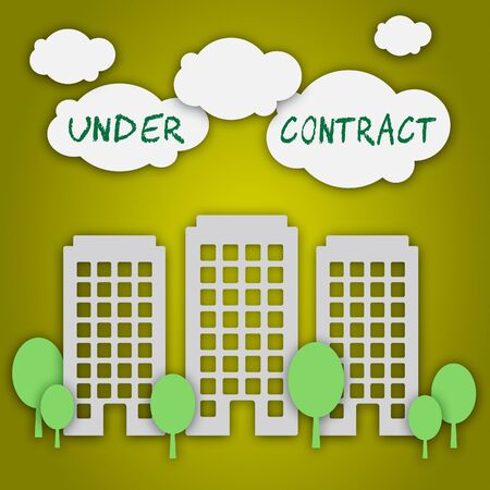 Home Under Contract City Depicts Property Sold And Offer Signed. Legal System For Buying Real Estate - 3d Illustration Banco de Imagens