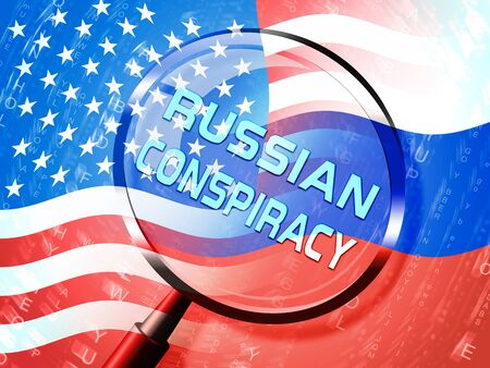 Russian Conspiracy Scheme Magnifier. Politicians Conspiring With Foreign Governments 3d Illustration. Complicity In Crime Against The Usa