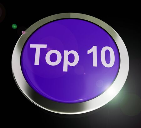 Top 10 concept icon means list of winners or finalists. Winning results of the billboard - 3d illustration Banque d'images - 124929369