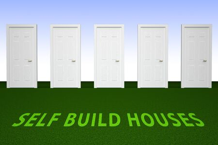 Self Build Construction Doorway Representing House Building By Yourself. Advice On Real estate Planning And Renovation - 3d Illustration Stock Photo