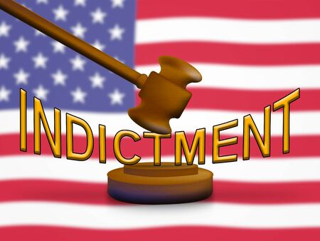 Grand Jury Indictment Gavel Representing Prosecution And Enforcement Against Defendant 3d Illustration. Federal Crime And Legal Judgement