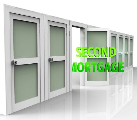 Second Mortgage Finance Doorway Showing Line Of Credit On Property. Real Estate Refinance Using Equity - 3d Illustration