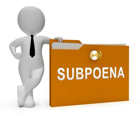 Witness Subpoena Folder Represents Legal Duces Tecum Writ Of Summons 3d Illustration. Judicial Document To Summon A Person