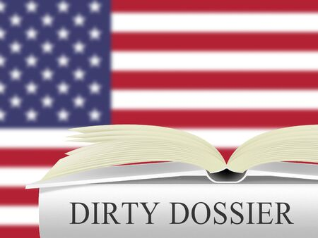 Dirty Dossier Flag Containing Political Information On The American President 3d Illustration. Investigation Data From Spying On Russia