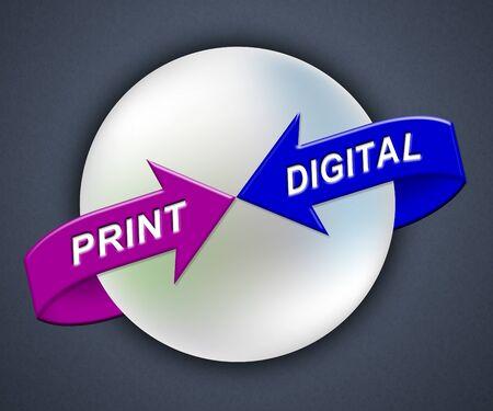 Print Vs Digital Words Showing Published Brochure Versus Digital Version. Media Publication Against Online Advertisement - 3d Illustration Standard-Bild - 124929385