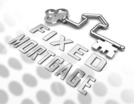 La clé du taux hypothécaire fixe indique que le remboursement des intérêts n'est pas variable. Montant du paiement mensuel du prêt ne change pas - Illustration 3d