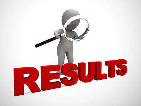 El icono del concepto de resultados significa el desempeño o la evaluación de las conclusiones. Observaciones de beneficios e informes de una solución - Ilustración 3d Foto de archivo