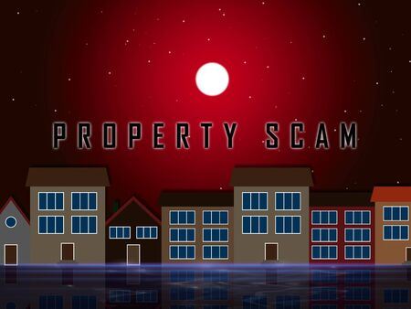 Property Scam Hoax Street Depicting Mortgage Or Real Estate Fraud. Residential Properties Realty Swindle - 3d Illustration