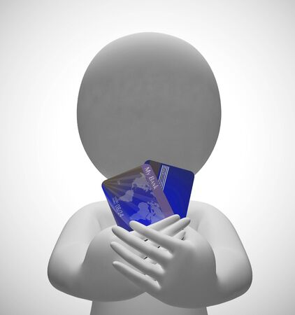 Credit card payments icon shows retail finance. Using plastic for purchases and shopping - 3d illustration Stock Photo