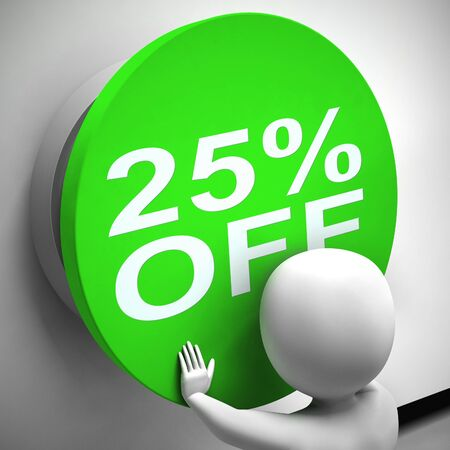 Twenty five percent off discount reduction showing 25% less price. Special offer discounted product - 3d illustration