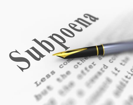 Witness Subpoena Report Represents Legal Duces Tecum Writ Of Summons 3d Illustration. Judicial Document To Summon A Person