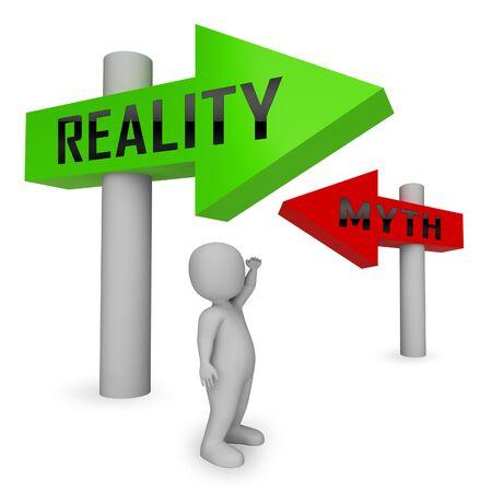 Personnage mythe contre réalité démontrant l'authenticité par rapport aux faits faux. Intégrité et honnêteté par rapport aux mensonges - Illustration 3d