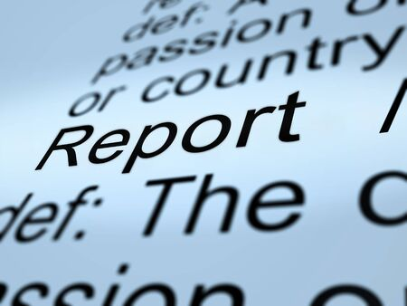 Impact Report Definition Shows A Summary Or Writing Of Evidence And Results 3d Illustration. Business Data Or Political Information