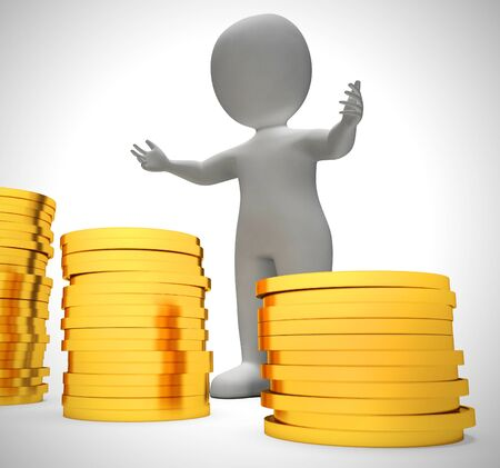 Gold coins in a stack depict wealth and ready money. A reserved fund of cash and income - 3d illustration Banco de Imagens