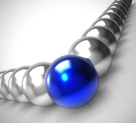 Leader concept icon shown by leading sphere. Authority and guidance by team commander - 3d illustration Stok Fotoğraf