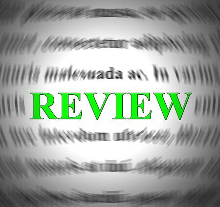 Review concept icon means examining and checking through study. And assessment or evaluation of a product - 3d illustration Stock Illustration - 124929613