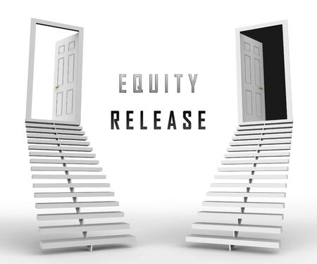 Equity Release Doorway Depicts Money From Mortgage Or Loan From House. To Help Pension Finances Or Unlock Cash - 3d Illustration