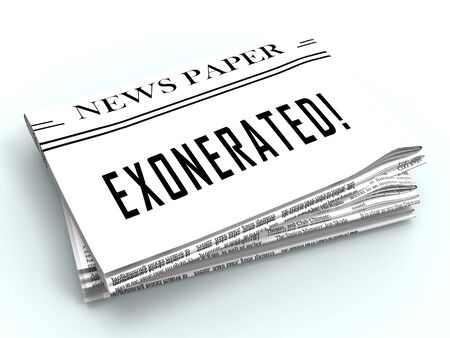 Exonerated Newspaper Showing Criminal Investigation Dismissed Or Defendant Let Off 3d Illustration. Legal Vindication And Amnesty