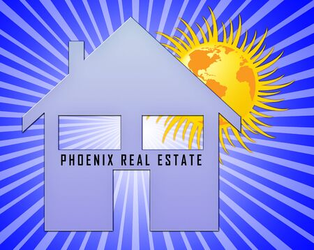 Phoenix Real Estate Icon Depicting Arizona Property For Sale. Housing Investment Buildings Or Rental Developments - 3d Illustration