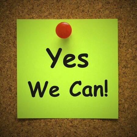 Yes we can concept icon means affirmative action and inspiration to succeed. Become a winner through motivation and encouragement - 3d illustration