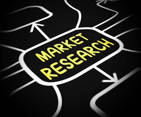 Market research concept icon means a consumer survey or poll. Study of the market for successful products - 3d illustration