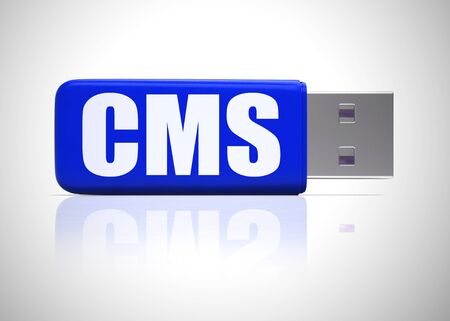 Content management system icon concept also known as cms. An application or development for commercial administration - 3d illustration Imagens