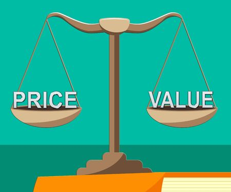 Price Vs Value Balance Comparing Cost Outlay Against Financial Worth. Product Pricing Strategy Or Investment Valuation - 3d Illustration