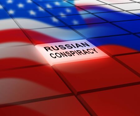 Russian Conspiracy Scheme Button. Politicians Conspiring With Foreign Governments 3d Illustration. Complicity In Crime Against The Usa