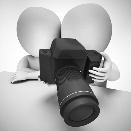 Photography with a DSLR camera and professional equipment including zoom. The photographer shoots photos with his equipment - 3d illustration 写真素材