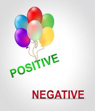 Positive Versus Negative Words Depicting Reflective State Of Mind. Motivation And Optimism Vs Pessimism - 3d Illustration Stock Photo