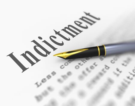 Grand Jury Indictment Word Representing Prosecution And Enforcement Against Defendant 3d Illustration. Federal Crime And Legal Judgement Stock Photo