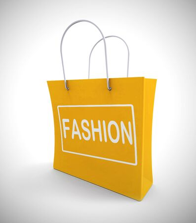 Fashion shopping bags mean style and Vogue showing trend and design. Chic and fashionable clothes from stylish designers - 3d illustration Banco de Imagens