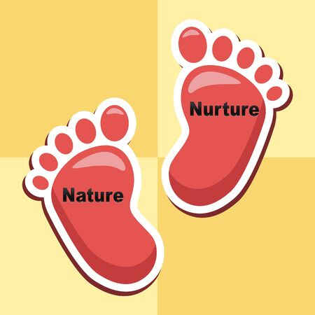 Nature Vs Nurture Feet Means Theory Of Natural Intelligence Against Development Or Family Growth From Love- 3d Illustration Banco de Imagens